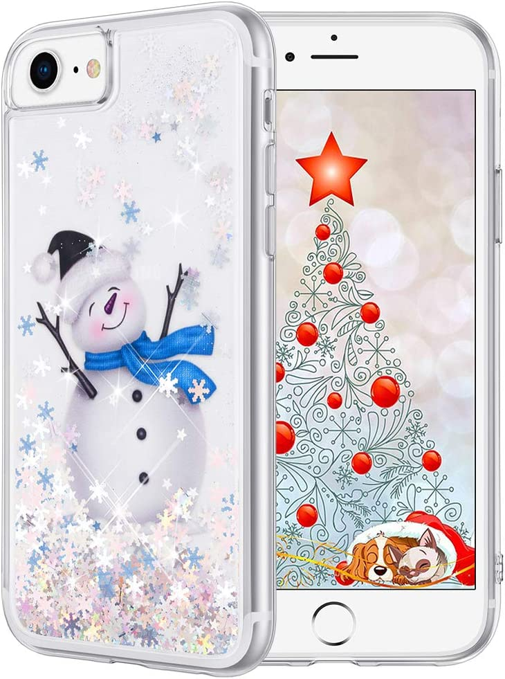 Maxdara Christmas Case for iPhone 6 6s 7 8, Merry Christmas Snowman Pattern Glitter Liquid Bling Sparkle Cute Case for Girls Children Women Gifts Christmas Case for iPhone 6 6s 7 8 4.7 inches-Snowman