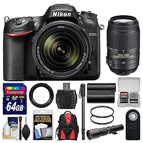 Nikon D7200 Wi-Fi Digital SLR Camera & 18-140mm VR DX & 55-300mm VR & 500mm Lenses with 64GB Card + Backpack + Battery + Monopod (Nikon D7200 Body)