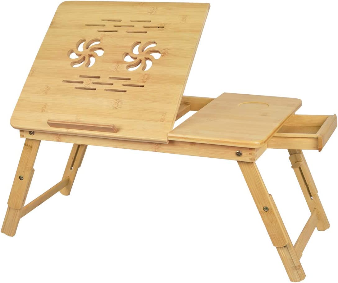 Artmalle Bamboo Laptop Desk,Adjustable Portable Breakfast Serving Bed Tray Tilting Top with Storage Drawer for Couch,Multifunctional Table Floor Desk Notebook Stand with Folding Legs (Natural)