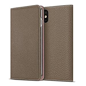 BONAVENTURA iPhone X Leather Wallet Case (Beautiful European Full-Grain Leather) | Luxury Flip Cover Folio Case [iPhone X | Taupe & Pink]
