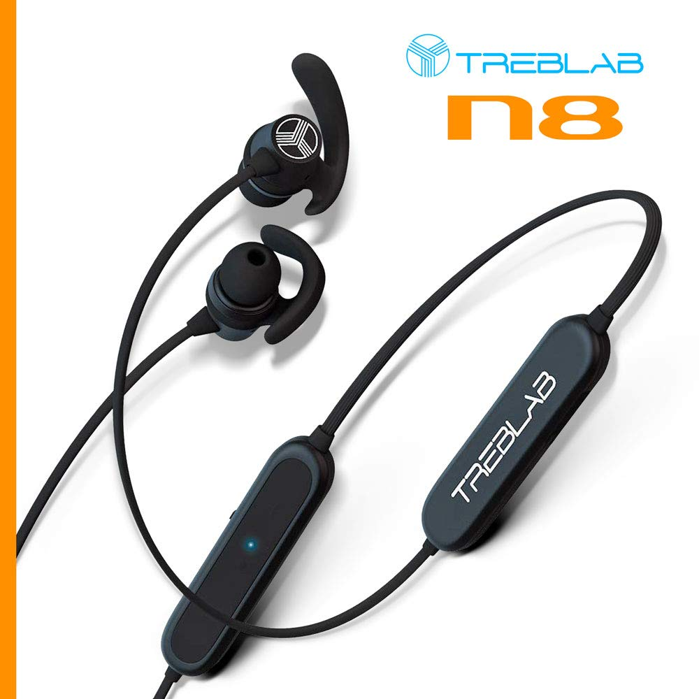 TREBLAB N8 – Sports Bluetooth Headphones. Lightweight In-Ear Wireless Earbuds, Magnetic Secure-Fit Waterproof Sweatproof For Gym Yoga Running Workout Noise Cancelling Neckband Headset w Mic 2018 Model
