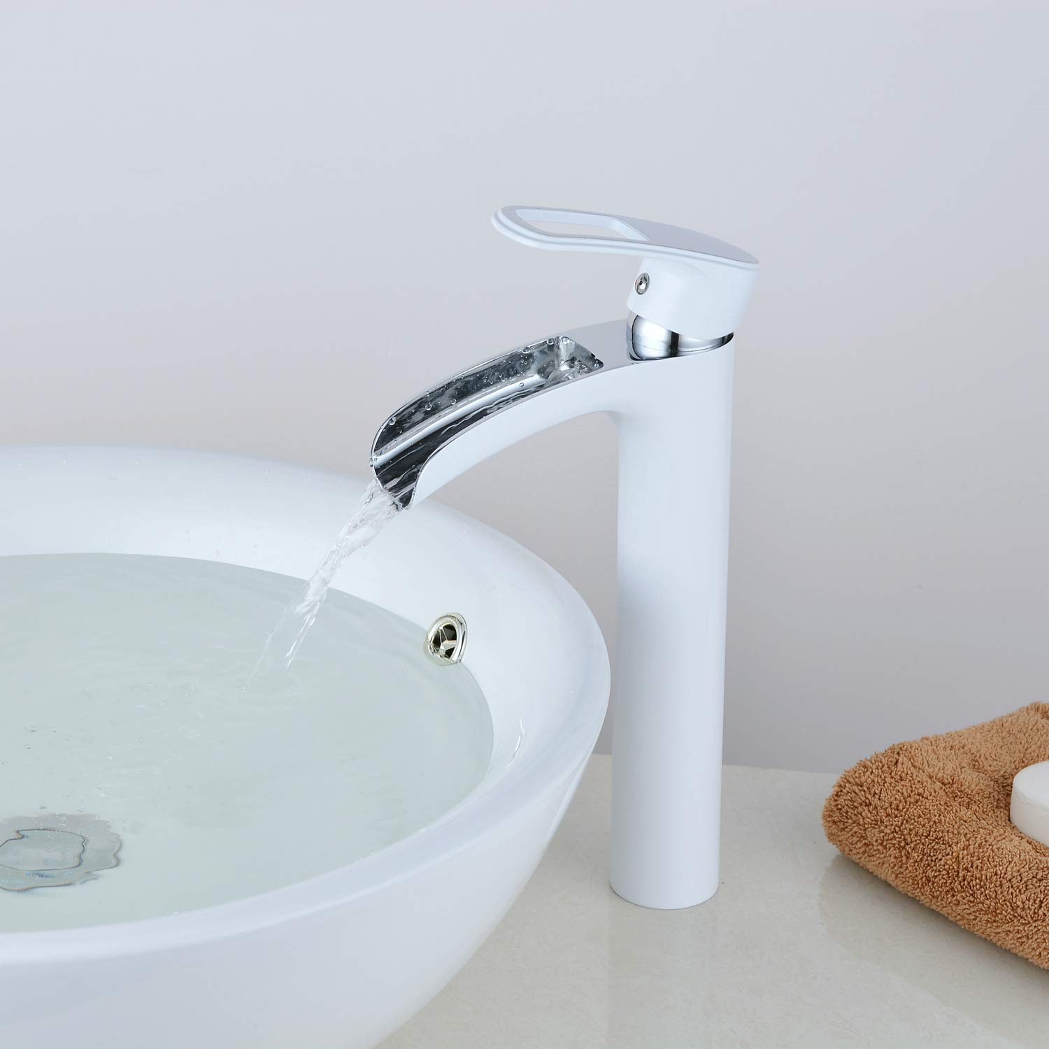 White Chrome Tall Basin Mixer Tap Waterfall Tall Bathroom Sink Taps Brass Chrome Finish Modern Single Handle Lever One Hole Mount Counter Top Tall Tap Lavatory Leekayer, LK6683H