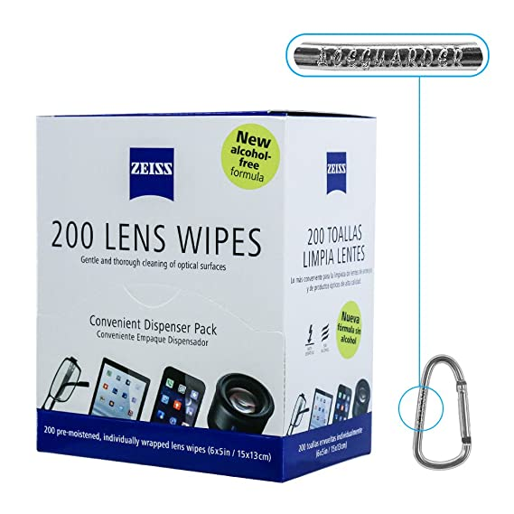 Zeiss Pre-Moistened Lens Cleaning Wipes [2016 New Alcohol Free Formula]- Cleans