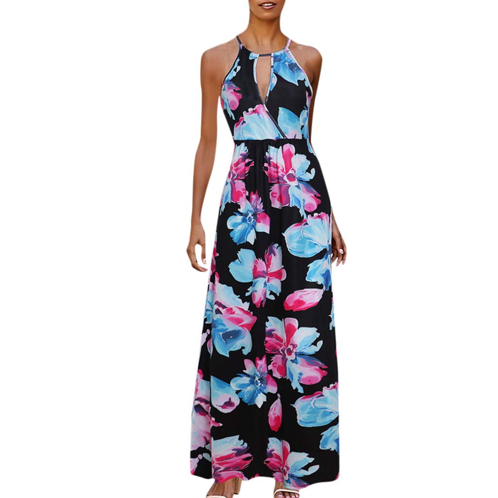 Women's Floral Long Derss - Casual Elegant Halter Neck Sleeveless Beach Party Maxi Dresses