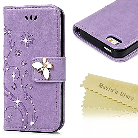 iPhone SE Case,iPhone 5S Case,iPhone 5 Case - Mavis's Diary 3D Handmade Wallet Bling Crystal Diamonds Butterfly Fashion Floral PU Leather with Hand Strap Magnetic Clasp Card (5s Cases Special)