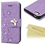 iPhone SE Case,iPhone 5S Case,iPhone 5 Case - Mavis's Diary 3D Handmade Wallet Bling Crystal Diamonds Butterfly Fashion Floral PU Leather with Hand Strap Magnetic Clasp Card Holders