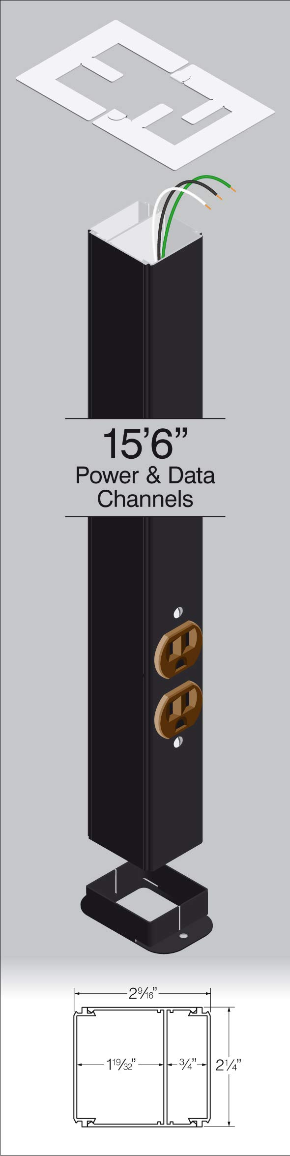 Power Pole, Prewired, 15' 6'' Long with one Standard Outlet, Black Powder Coated Finish