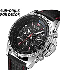 Mens Military Sport Watch Fashion Casual Leather Luminous Waterproof Quartz Wrist Watches for Business Office Work School Outdoor Use, Good Gift for Men