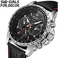 MEGIR Mens Military Sport Watch Fashion Casual Leather Luminous Waterproof Quartz Wrist Watches for Business Office Work School Outdoor Use, Good Gift for Men