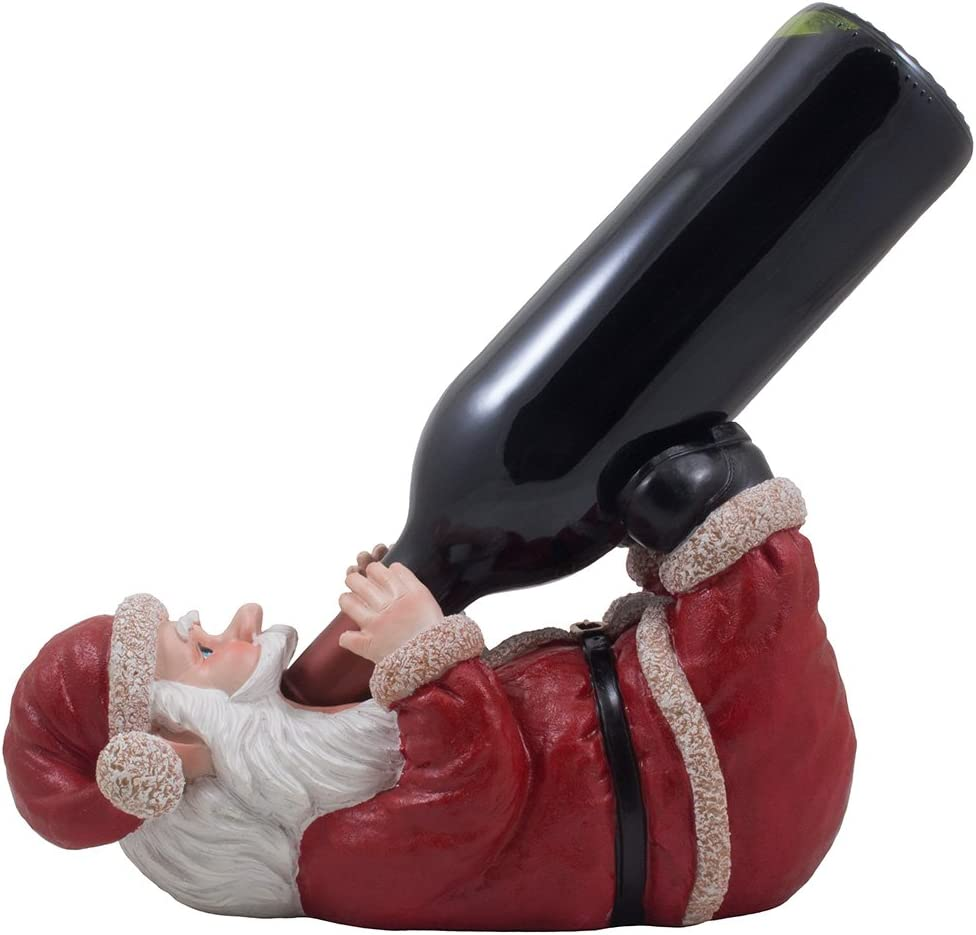 Whimsical Santa Claus Wine Bottle Holder Display Stand Statue As Decorative Christmas Decor for Home Bar and Kitchen Countertop Holiday Decorations Or Unique for Wine Lovers
