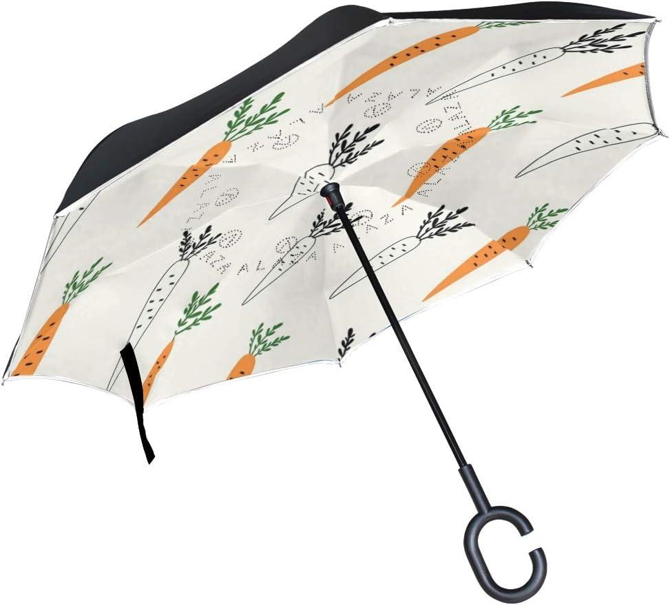Inverted Umbrella with Hand Drawn Carrots Doodle Print Car Reverse Folding Umbrella