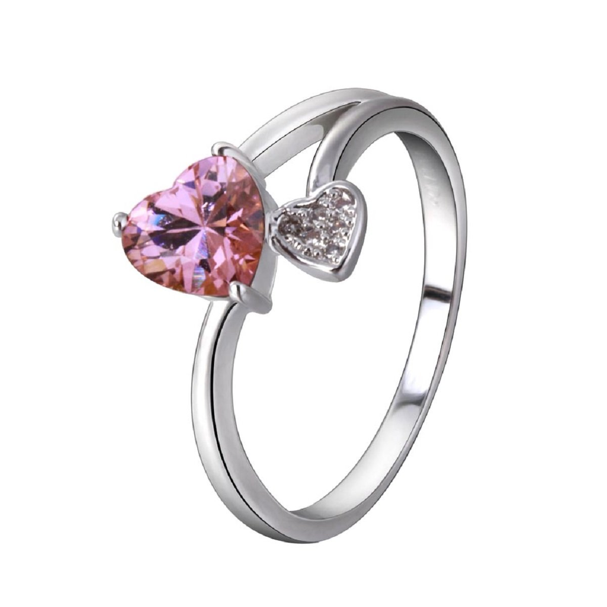 YAZILIND Promise Ring Silver Plated Pink Cubic Zirconia Double Heart Wedding Band Ring Size 7