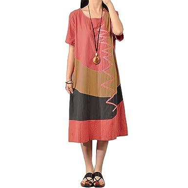 720e1a0cc1 Image Unavailable. Image not available for. Color  Baqijian 4XL 5XL Plus  Size Womens Cotton Vintage Summer Dress Contrast O Neck Short Sleeve Splice