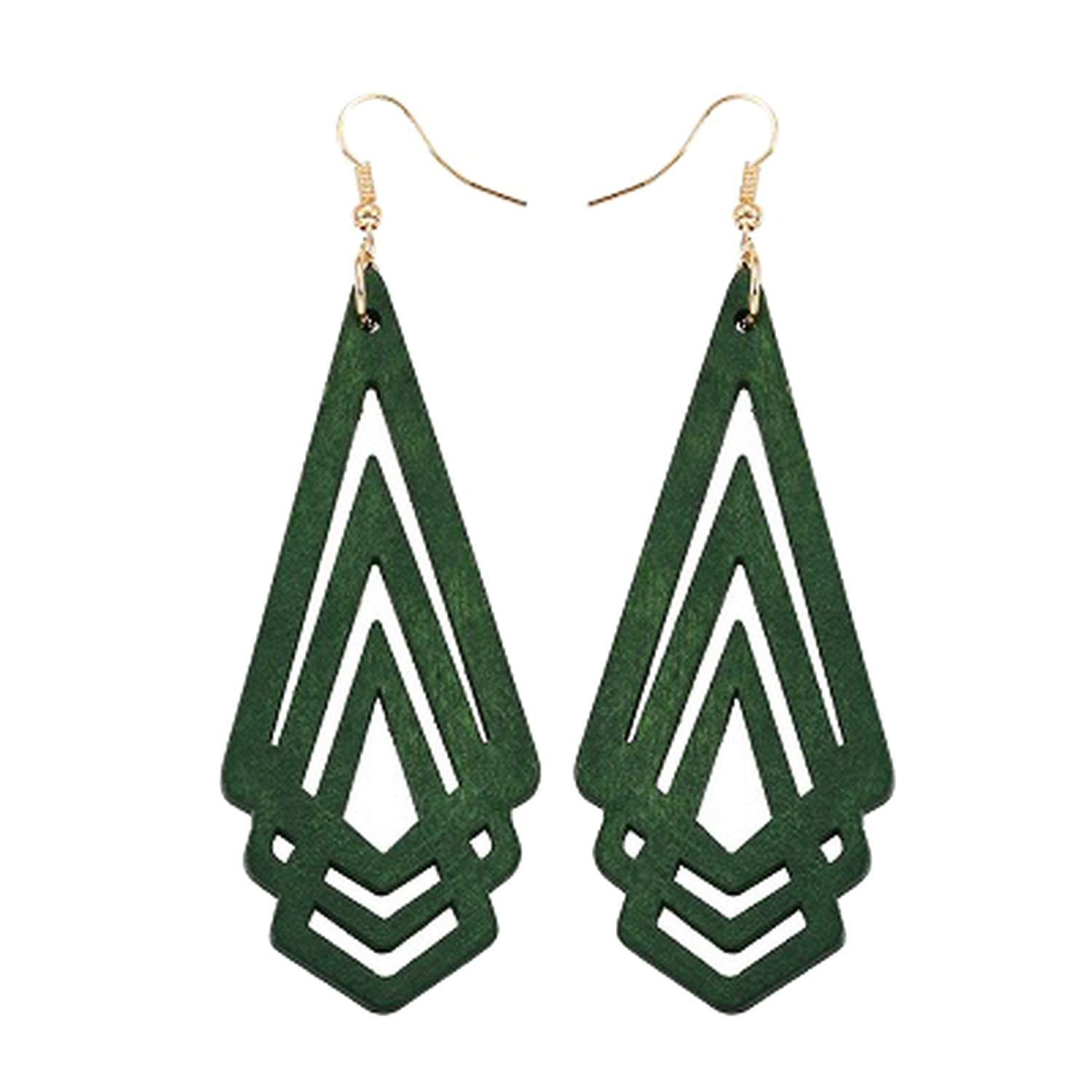 Natural Wooden Earrings Hollow Triangle Personality Simple Style Fashion Jewelry For Girls Prom Party