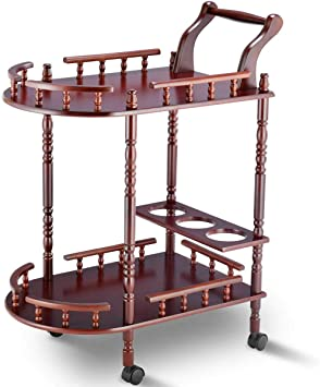 Dark Cherry 2 Tier Wine Table Wooden Serving Cart Rolling Beverage Storage Rack
