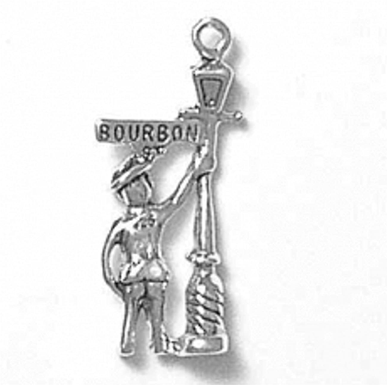 Sterling Silver Girls .8mm Box Chain 3D New Orleans Well Dressed Tourist By Lamppost Pendant Necklace