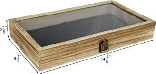 product image for Flag Connections Wooden Jewelry Display case with Tempered Glass Top Lid, Oak Color