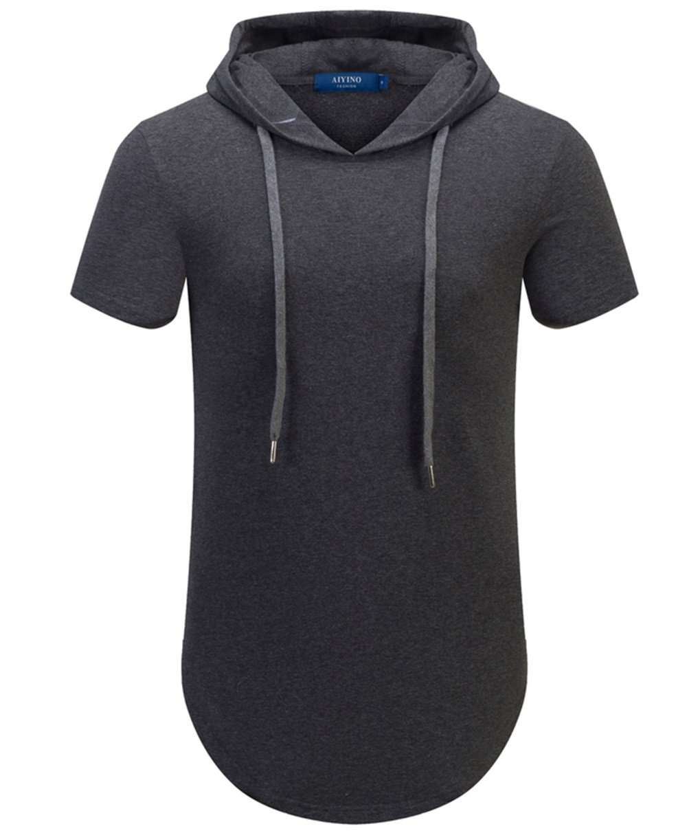 Aiyino Mens Hipster Hip Hop Short Sleeve Longline Pullover Hoodies Shirts (US XL, Dark Gray)