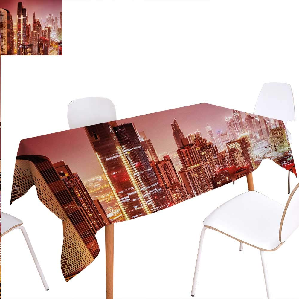 """Warm Family Cityscape Dinning Tabletop Decoration Dubai at Night Cityscape with Tall Skyscrapers Panorama Picture Arabian Peninsula Table Cover for Kitchen 60""""x90"""" Multicolor"""