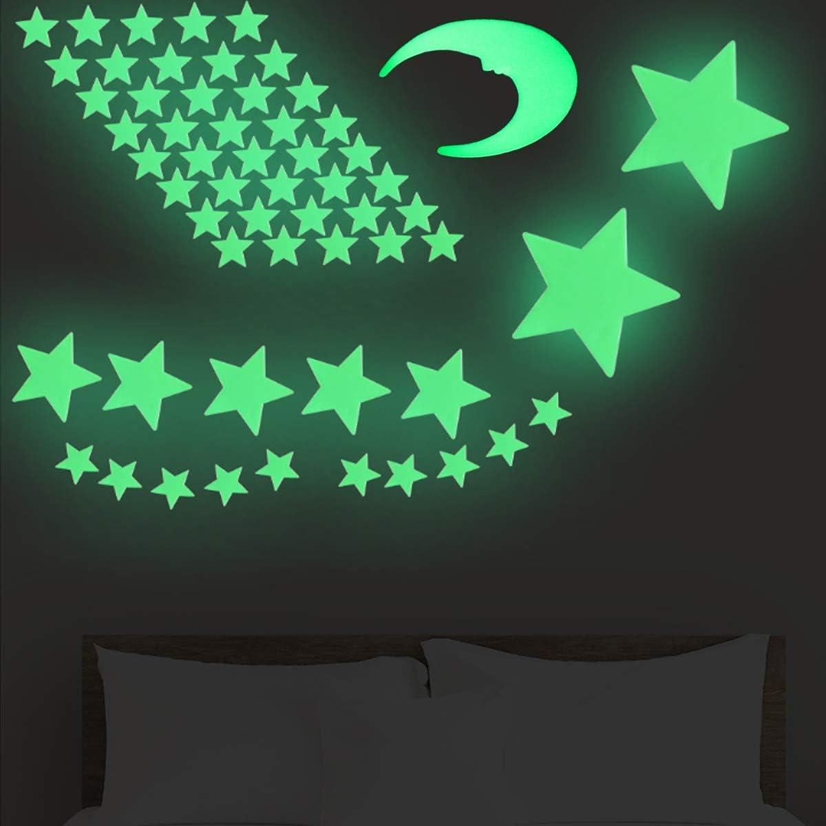 Tianher Luminoso Pegatinas de Pared,101 Estrellas 8 Planetas10 luna DIY Fluorescente Decoraci/ón Habitaci/ón de Pared para Dormitorio de Ni/ños Chico Ni/ña Beb/é Casa Interior Mural