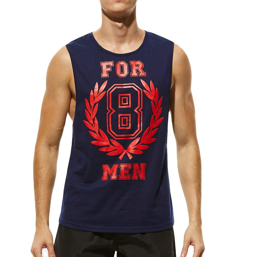 Camiseta sin Mangas para Hombre Fitness Entrenamiento Moda Estampado Cuello Redondo Cartas Deportivo Gym Tops de Tirantes Cómodo Transpirables Camisa de Hombre MMUJERY