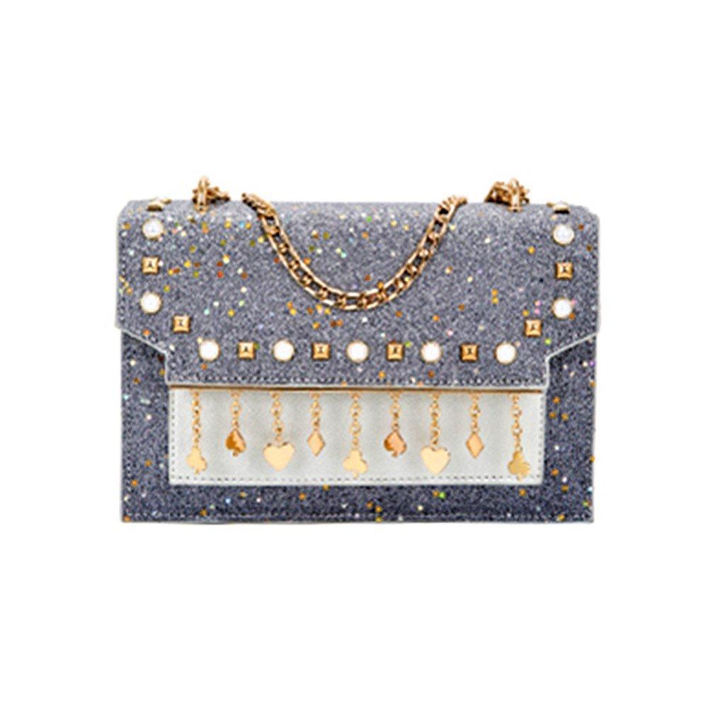 JeVenis Womens Rainbow Sequins Chain Clutch BlingBling Evening Handbag Glitter Party Crossbody Purse (New - Grey)