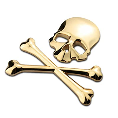 VORCOOL New 3D 3M Skull Metal Skeleton Crossbones Car Motorcycle Sticker Label Skull Emblem Badge Car Styling Stickers Decal (Gold): Automotive