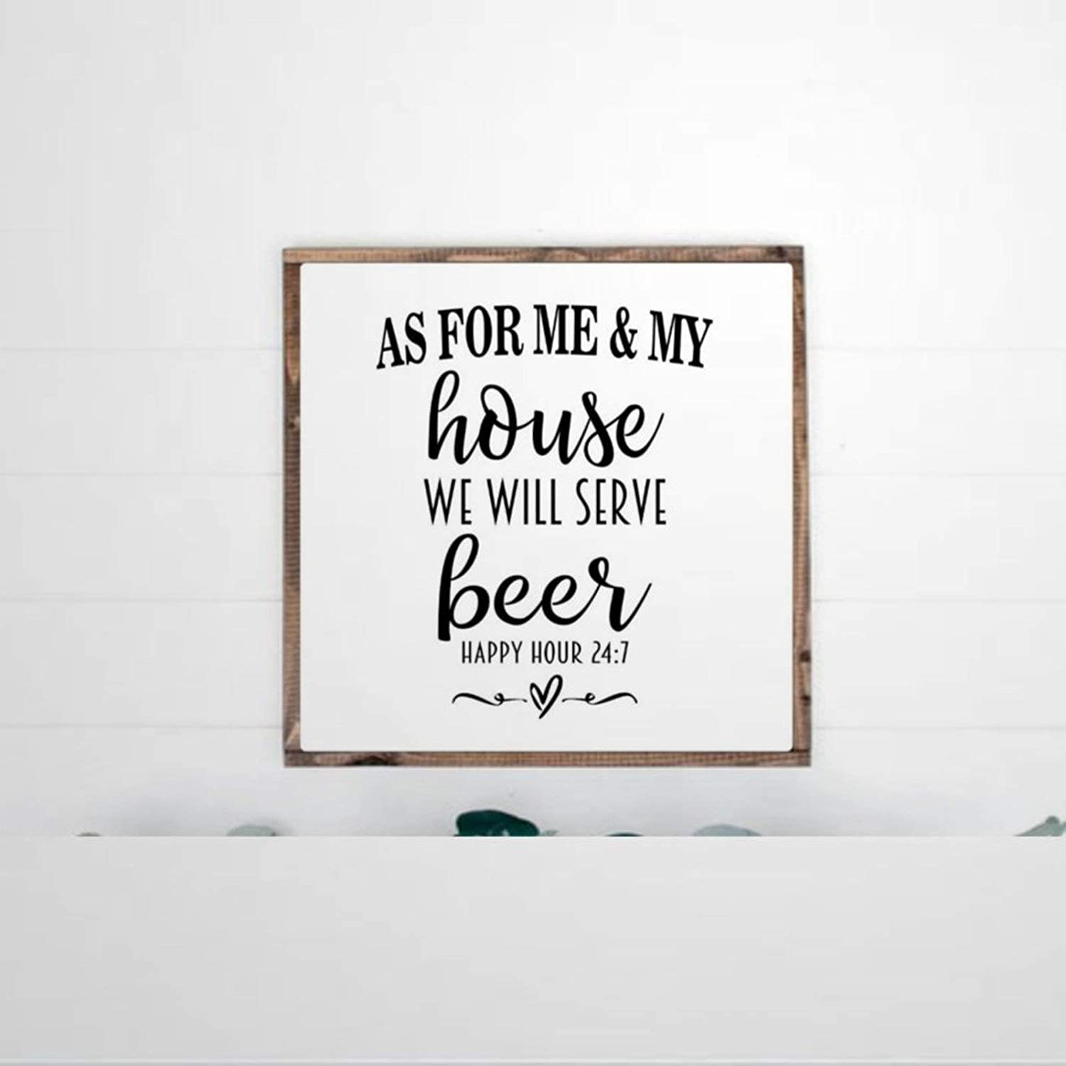 DONL9BAUER Framed Wooden Sign As for Me and My House We Will Serve B_eer Wall Hanging B_eer Lover Farmhouse Home Decor Wall Art for Living Room