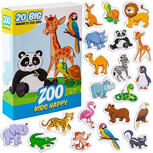 MAGDUM ZOO animal magnets for kids -real LARGE fridge magnets for toddlers- Magnetic EDUcational toys baby 3 year old baby LEARNing magnets for kids- Kid magnets Magnetic THEATRE-jungle animal magnets (1 2 Refrigerator Magnets)