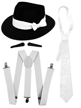 GANGSTER FANCY DRESS ACCESSORY SET WHITE TIE + WHITE BRACES + BLACK OR  WHITE TRILBY HAT 48cb89d0f8c