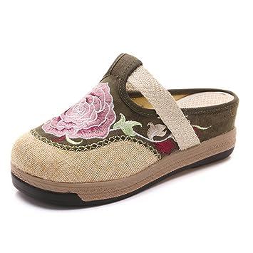 Style Manuel Mules Brodé Ancien Pantoufle Femme Compensées Sandales Ljq54RSc3A