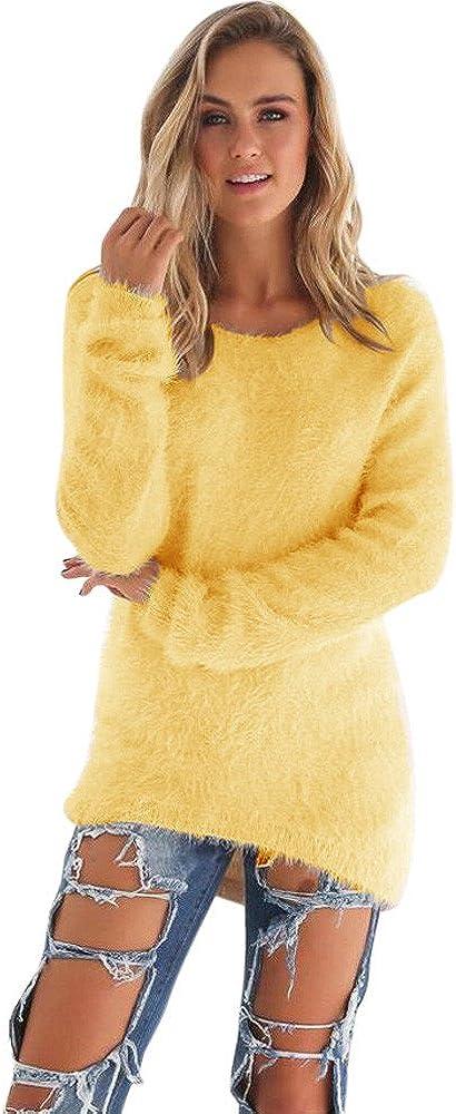 VJGOAL Mujer Oto/ño e Invierno Moda Casual Color s/ólido Manga Larga Suave y c/ómodo Felpa Cuello Redondo Jerseys Jumper Blusa