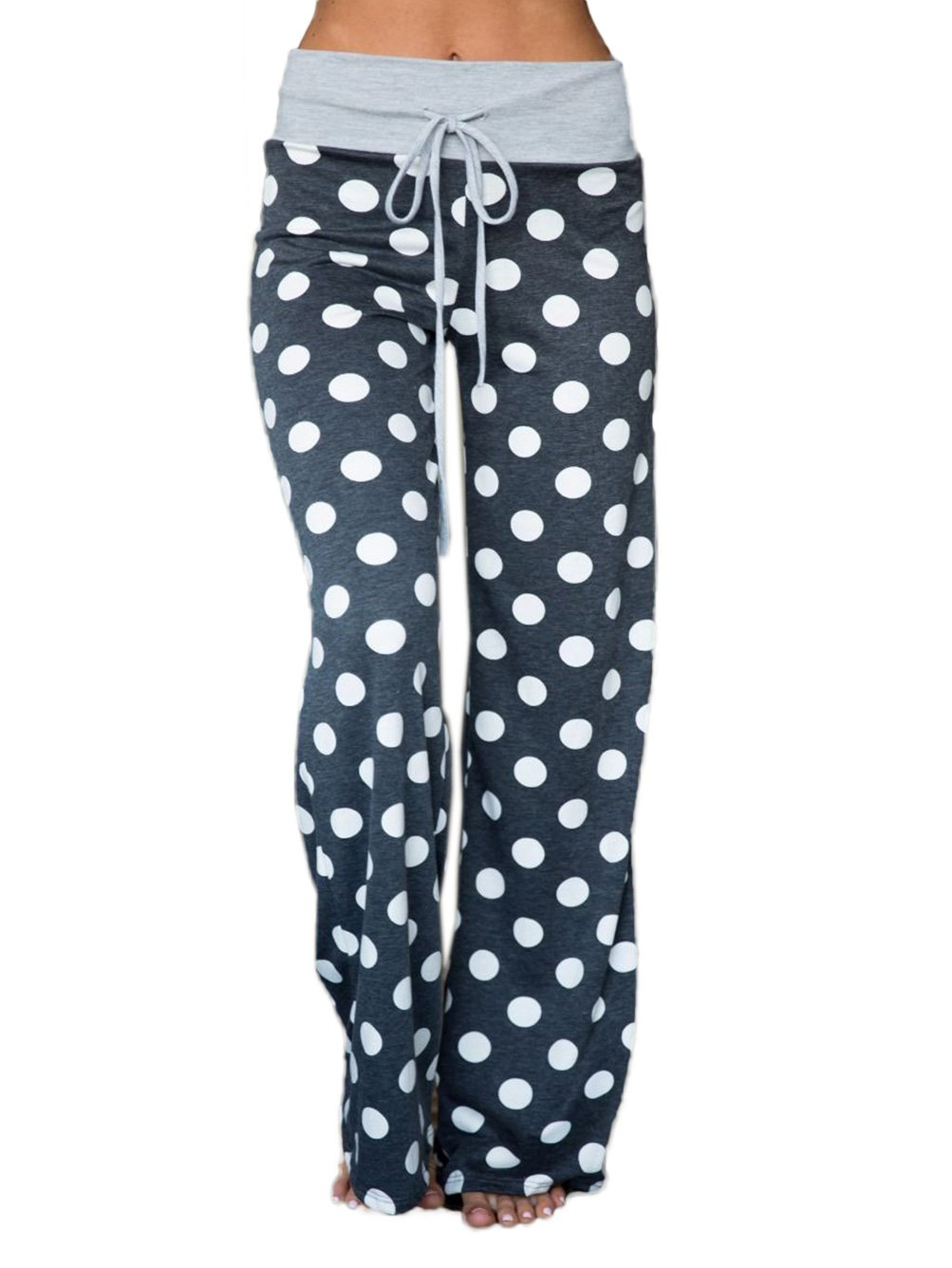 WD-Amour Women's Comfy Stretch Floral Print Drawstring Palazzo Wide Leg Lounge Pants (Medium, Grey2)