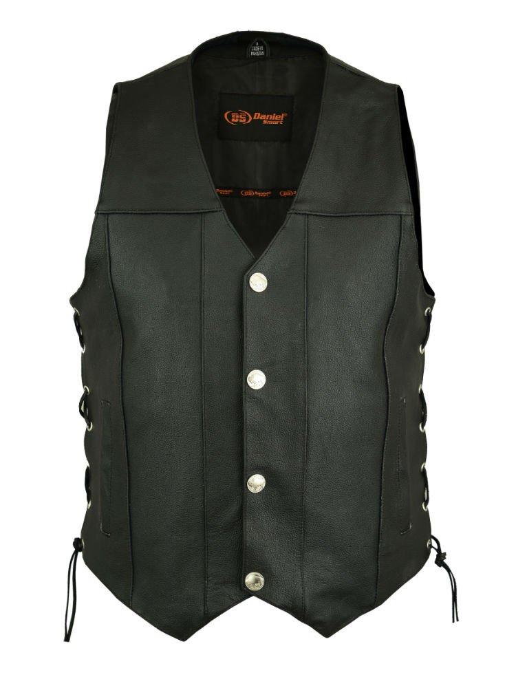 DS142 Men's Single Back Panel Concealed Carry Vest (Buffalo Nickel Head Snaps) - Motorcycle Vest
