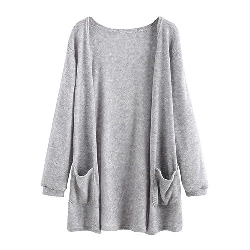Internet Las mujeres del otoño de manga larga blusa suelta chaqueta de la capa de rebeca larga Outwe...