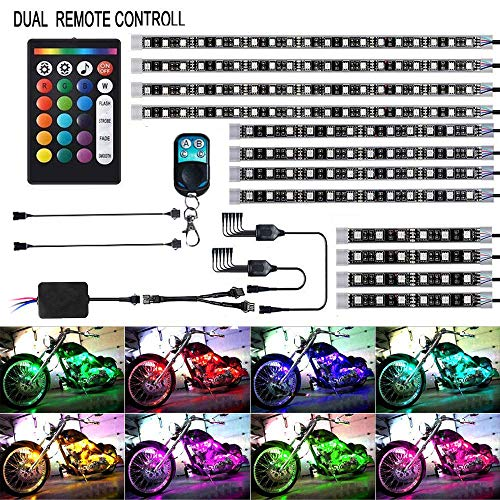XLANJINGJ 12Pcs Motorcycle LED Light Kit Strips Multi-Color Accent Glow Neon Ground Effect Atmosphere Lamp with Dual IR/RF Remote Controller For Harley Davidson Honda Suzuki Ducati Polaris BMW
