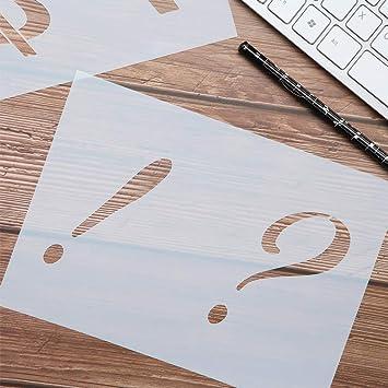 40 plantillas de letras reutilizables, lavables con diseño de alfabeto, plantillas de alfabeto para pintar sobre madera, juego de plantillas de ...