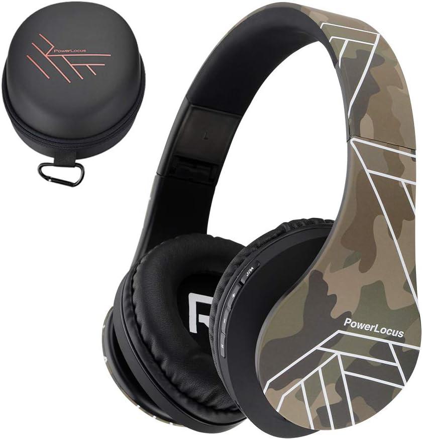 PowerLocus P2 – Auriculares Bluetooth inalambricos de Diadema Cascos Plegables, Casco Bluetooth con Sonido Estéreo Micro SD/TF, FM con micrófono y Audio Cable para iPhone/Samsung/iPad/PC (Camuflaje)