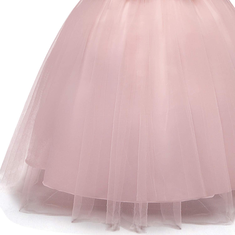 TTYAOVO Vestido de Novia Princesa de Encaje hasta el Suelo para Ni/ñas Vestidos de Tul