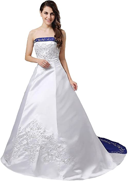25d835b5c41 Snowskite Women s Strapless Satin Embroidery Wedding Dress Bridal Gown  Ivory 0