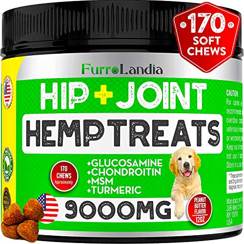 FurroLandia-Hemp-Hip-Joint-Supplement-for-Dogs-with-Hemp-Oil-Glucosamine-Chondroitin-MSM-Joint-Relief-for-Dogs-Reduces-Discomfort-9000MG-of-Hemp-Extract-Peanut-Butter-Flavor