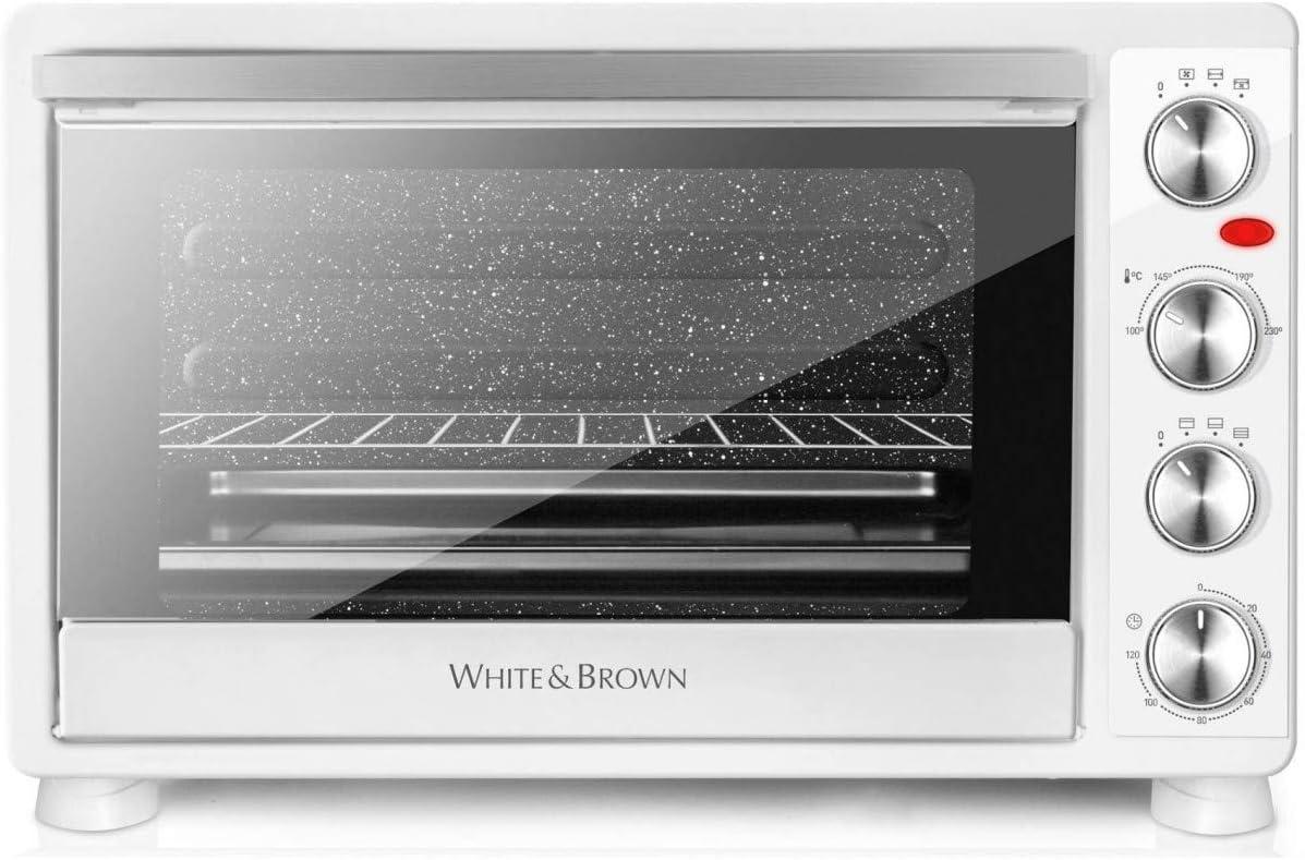 White & Brown - Mini horno MF550W, 55L, 2200 W, temporizador, calor giratorio, catalizado, color blanco: Amazon.es: Hogar