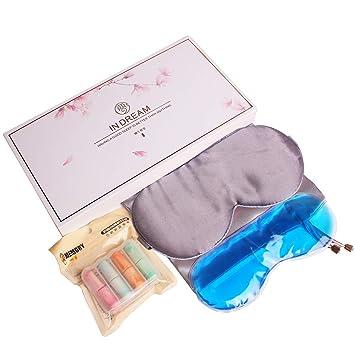 Unim, máscara de dormir de seda natural, ajustable, suave, para dormir,