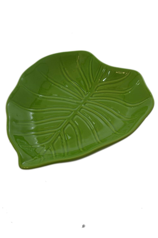 緑 大型 8インチ セラミックバナナヤシの木の葉 センターピース ボウル 深皿 大皿   B07K2FBL4T