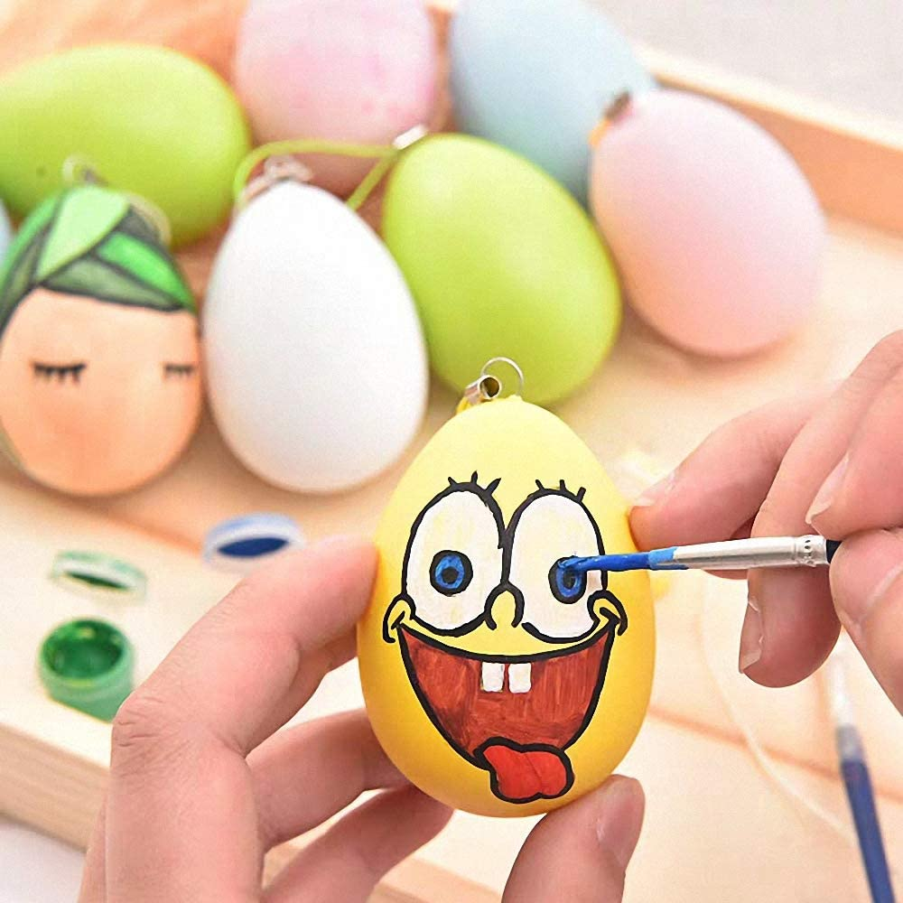 Blank White Plastic Eggs for Kids DIY Painting Crafts Easter Hunt Gifts White Easter Decorations 24pcs Plastic Easter Eggs Hanging Ornament Set 6cm
