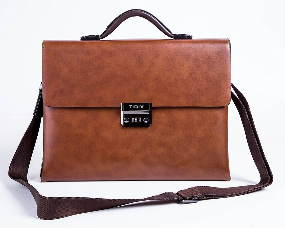 TIDIV Luxurious Genuine Cow Leather Men's Coded Lock Briefcase Laptop Messenger Bag
