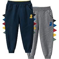 TOKYMOON Pack de 2 pantalones de chándal para niños de algodón con diseño de dinosaurios y caricatura estampada…