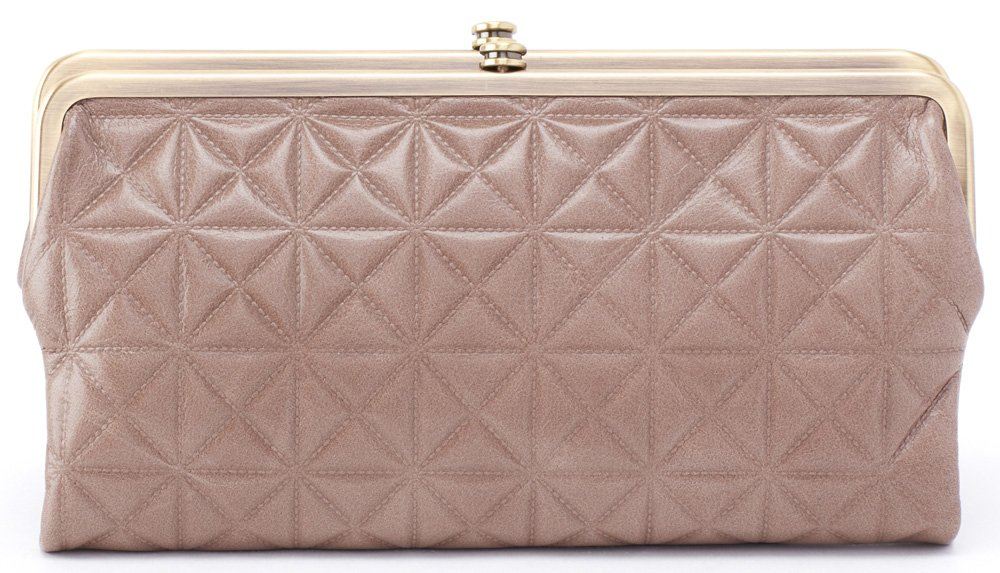 Hobo Womens Leather Vintage Lauren Quilted Embossed Clutch Purse (Ash)