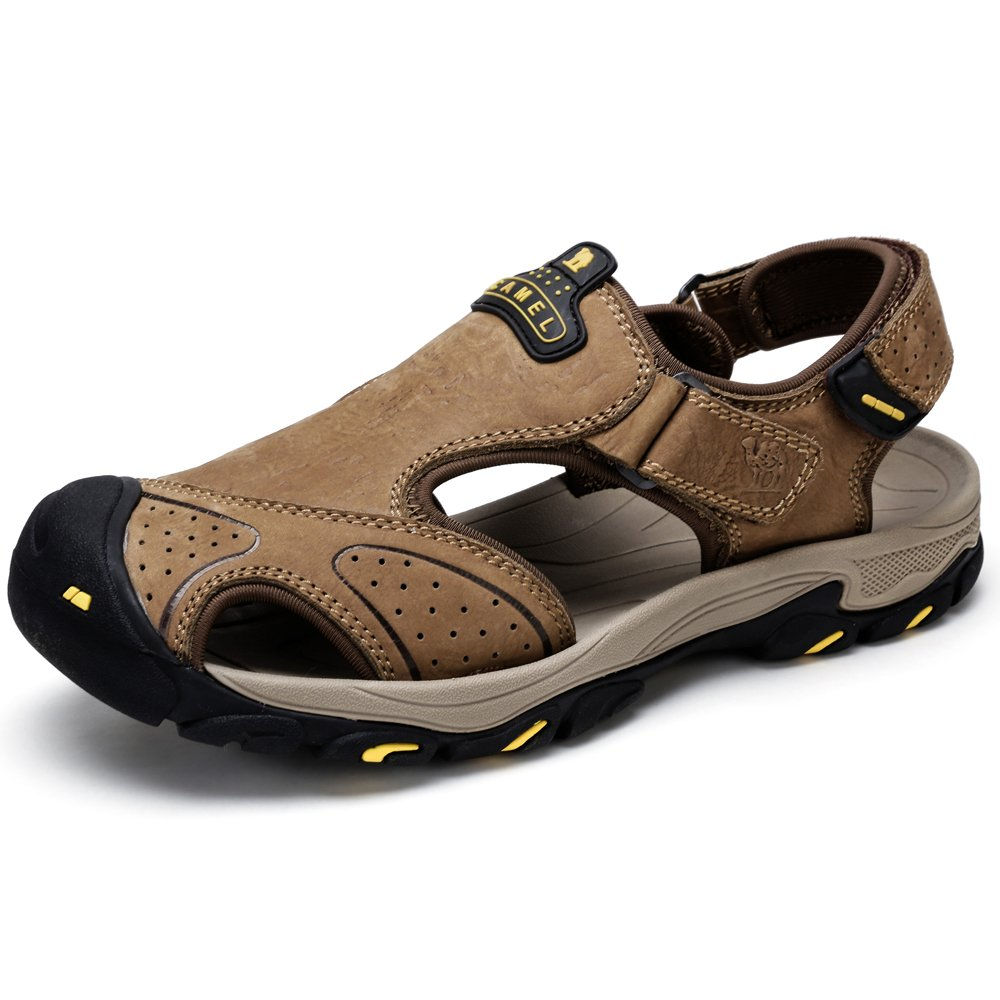 CAMEL Mens Leather Sandals Fisherman Comfortable Casual Walking Shoes Athletic for Hiking Beach Sport Summer-Close Toe