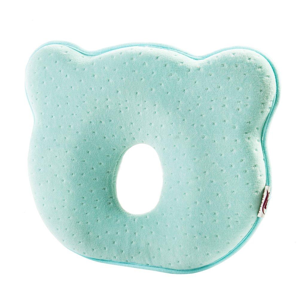 Baby Head Shaping Pillow Newborn Baby Pillow Infant Memory Foam Pillow (Light Blue)
